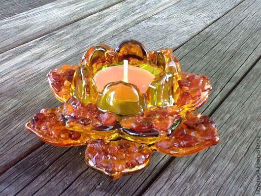 """Подсвечники ручной работы. Ярмарка Мастеров - ручная работа. Купить Подсвечники """"Цветочек аленький"""". Handmade. Оранжевый, янтарь, светильник"""