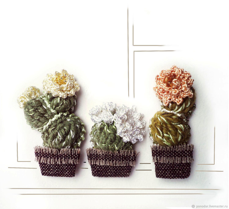 Брошь Кактусёныш вязаная текстильная кактус в горшке, Брошь-булавка, Атласово,  Фото №1
