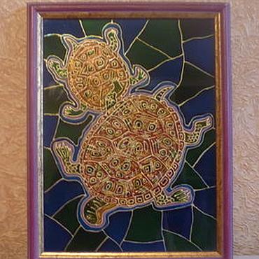 """Картины и панно ручной работы. Ярмарка Мастеров - ручная работа Картина на стекле """"Морские черепахи"""". Handmade."""
