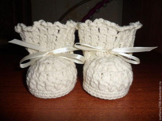 """Для новорожденных, ручной работы. Ярмарка Мастеров - ручная работа. Купить Пинетки """"Сладкая парочка"""". Handmade. Белый, пинетки вязаные"""