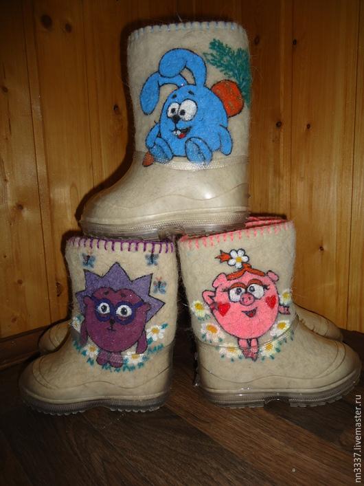"""Обувь ручной работы. Ярмарка Мастеров - ручная работа. Купить Валенки детские """"Смешарики"""". Handmade. Разноцветный, валенки с вышивкой"""