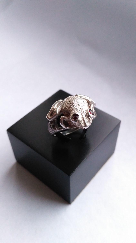 Кольца ручной работы. Ярмарка Мастеров - ручная работа. Купить Кольцо Лягушка. Handmade. Серебро, гранат