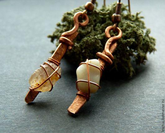 Серьги ручной работы. Ярмарка Мастеров - ручная работа. Купить Серьги медные с природным камнем. Handmade. Рыжий, природный камень