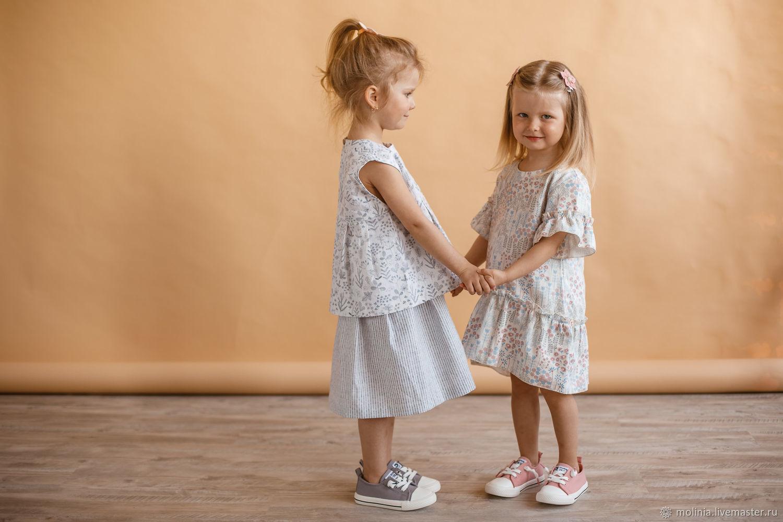 Платье для девочки Милена льняное белое в цветочек нарядное празднично, Одежда, Калининград,  Фото №1