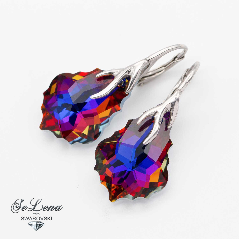 Silver earrings with Swarovski crystals Swarovski Set, Earrings, Vyshny Volochyok,  Фото №1
