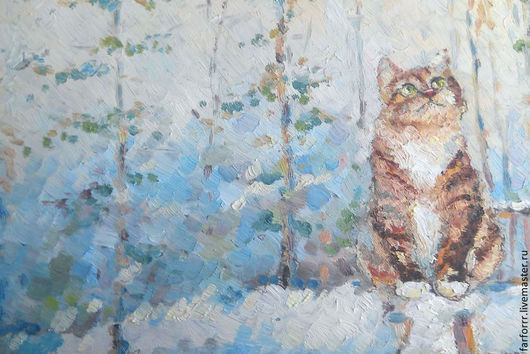 Животные ручной работы. Ярмарка Мастеров - ручная работа. Купить Картина. Кот и первый снег.. Handmade. Кот, котенок