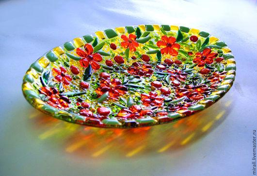 """Декоративная посуда ручной работы. Ярмарка Мастеров - ручная работа. Купить Комплект посуды """"Ах, лето!"""", стекло. Handmade. Салатовый"""