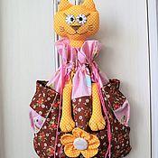 Кармашки ручной работы. Ярмарка Мастеров - ручная работа Пакетница Кошка в шоколадно-бежевой гамме. Handmade.