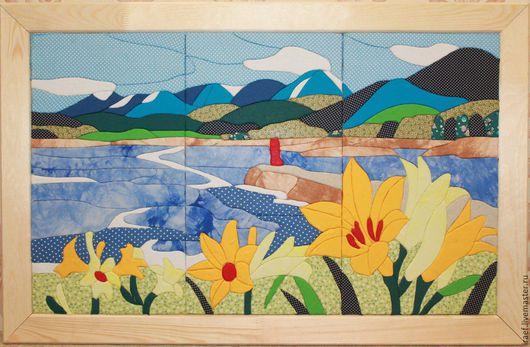 """Пейзаж ручной работы. Ярмарка Мастеров - ручная работа. Купить Картина в стиле """"Пэчворк"""". Handmade. Комбинированный, картина в подарок"""