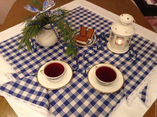 Купить комплект столового белья Итальянский завтрак. Ярмарка мастеров. Цвет синий и белый.
