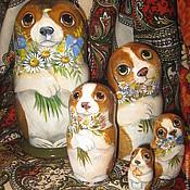"""Русский стиль ручной работы. Ярмарка Мастеров - ручная работа Матрёшка деревянная """"Семейка биглей"""" для Ольги. Handmade."""