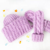 Аксессуары handmade. Livemaster - original item Set of knitted accessories, hat and mittens