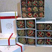 """Подарки к праздникам ручной работы. Ярмарка Мастеров - ручная работа Набор елочных шаров """"Красное золото"""". Handmade."""