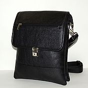 Сумки и аксессуары handmade. Livemaster - original item Black leather men`s bag