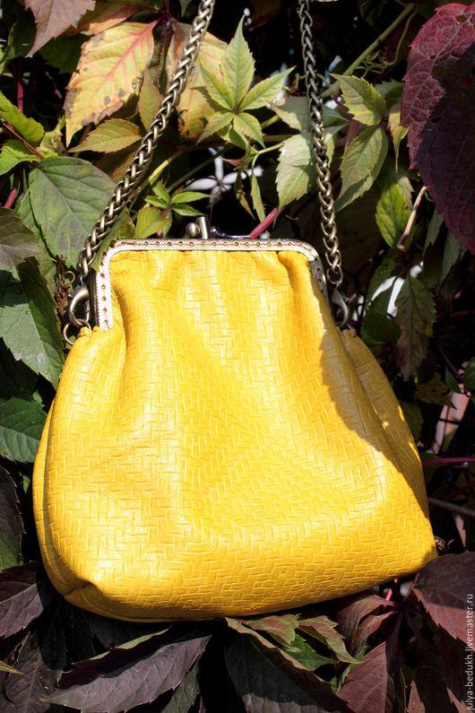 Женские сумки ручной работы. Ярмарка Мастеров - ручная работа. Купить Маленькая кожаная сумочка на фермуаре. Handmade. Желтый