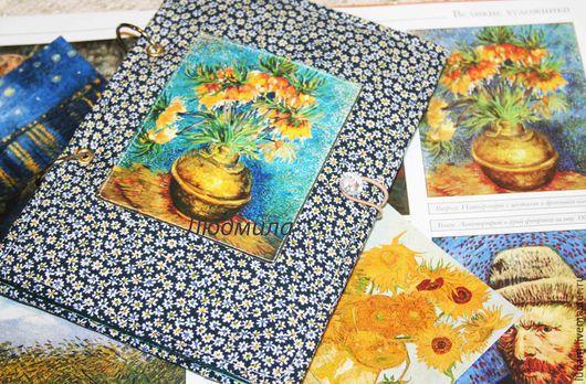 """Блокноты ручной работы. Ярмарка Мастеров - ручная работа. Купить Блокнот Ван Гог """"Подсолнухи"""". Handmade. Мятный, Ван гог"""