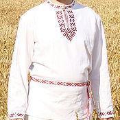 Русский стиль handmade. Livemaster - original item Russian embroidered linen shirt Yaromir. Handmade.