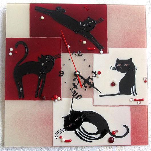 """Часы для дома ручной работы. Ярмарка Мастеров - ручная работа. Купить Часы """"""""Четыре котенка"""". Handmade. Часы, котики"""
