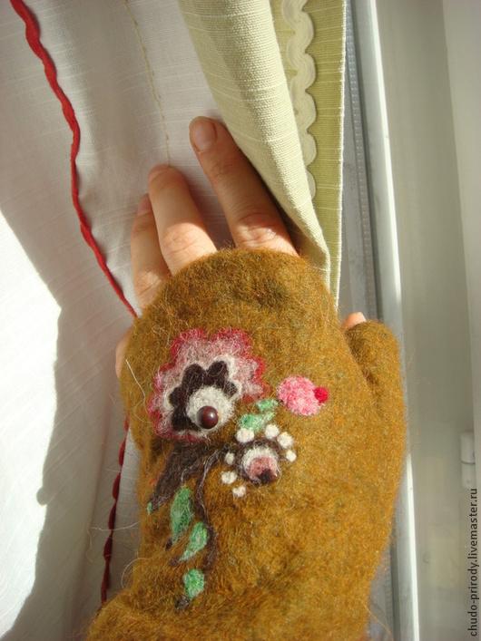 Варежки, митенки, перчатки ручной работы. Ярмарка Мастеров - ручная работа. Купить митенки ручной работы из шерсти. Handmade. Оранжевый