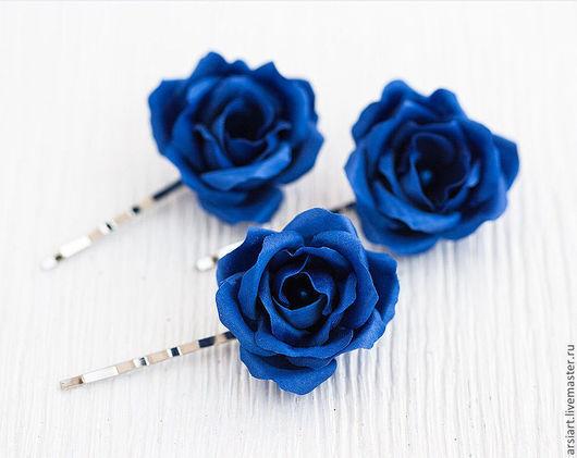 Свадебные украшения ручной работы. Ярмарка Мастеров - ручная работа. Купить Шпилька синяя роза. Цветы для волос. Розы из шелка. Заколка розочка.. Handmade.