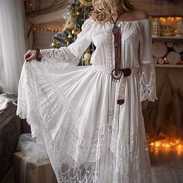 """Одежда ручной работы. Ярмарка Мастеров - ручная работа Платье """"White lace"""", БОХО, кружево хлопок. Handmade."""