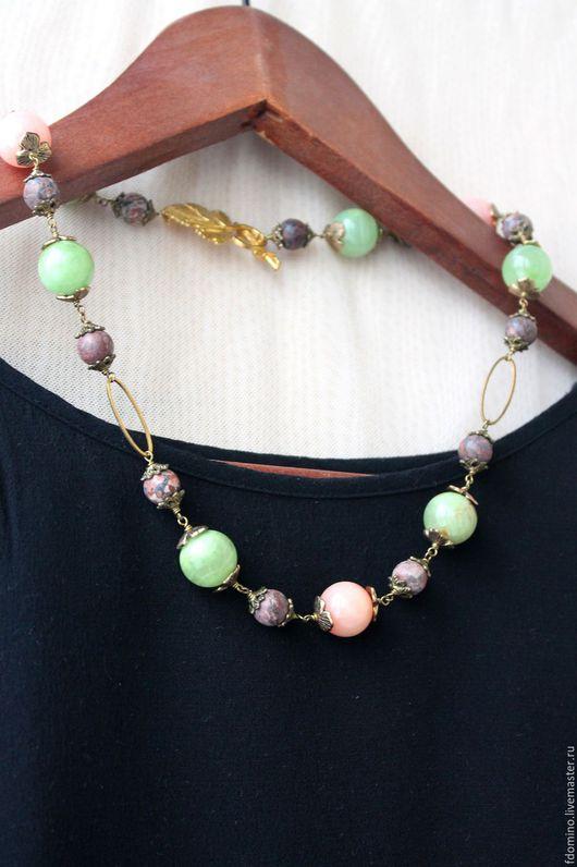 Комплекты украшений ручной работы. Ярмарка Мастеров - ручная работа. Купить Комплект. Ожерелье и Серьги.Розовый и зеленый. Натуральные камни. Handmade.