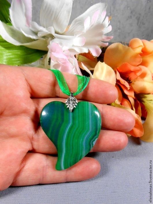 """Кулоны, подвески ручной работы. Ярмарка Мастеров - ручная работа. Купить Кулон """"СЕРДЦЕ"""" из зелёного агата. Handmade. Агат"""