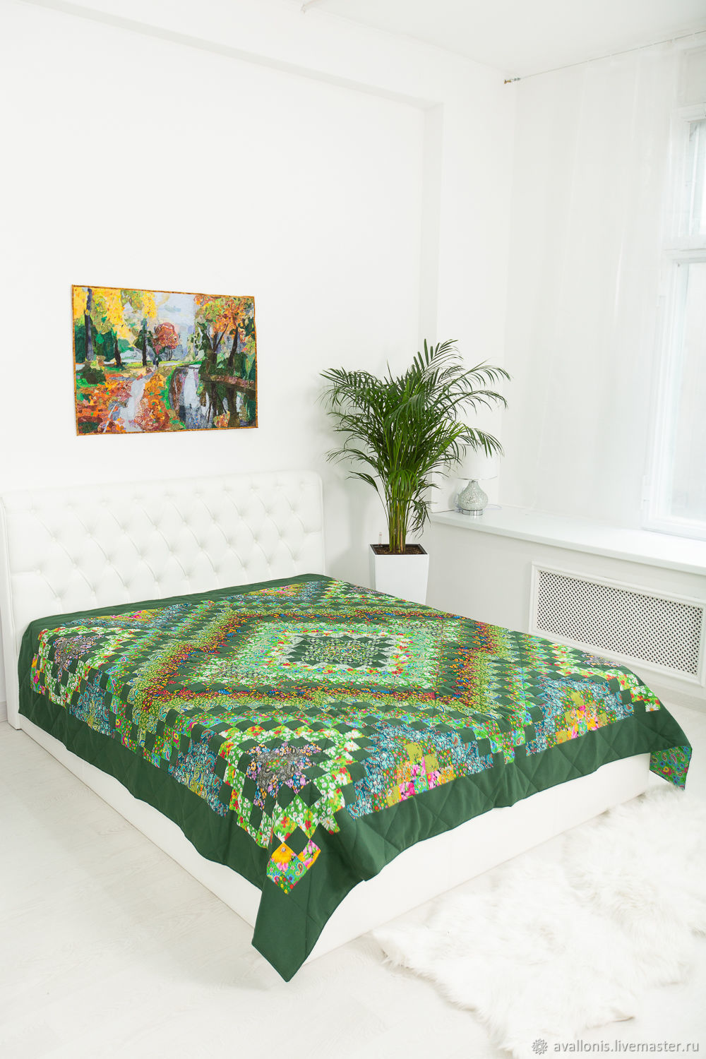 220x225cm Green patchwork double bedspread, Blankets, Moscow,  Фото №1