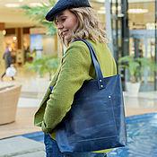 Сумки и аксессуары handmade. Livemaster - original item Genuine leather blue bag (leather women`s bag). Handmade.