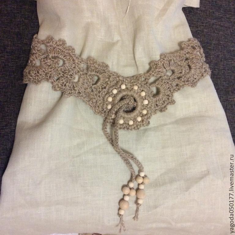 Knitted belt decorative boho jute.fishnet, Belt, Kaluga,  Фото №1
