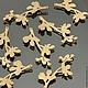 Подвески металлические из латуни с покрытием матовое золото в виде ветки с листьями для использования в сборке украшений