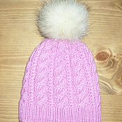 Работы для детей, ручной работы. Ярмарка Мастеров - ручная работа розовая шапка с натуральным помпоном. Handmade.