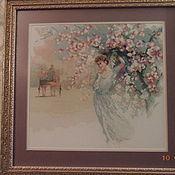 """Картины и панно ручной работы. Ярмарка Мастеров - ручная работа """"Девушка в белом"""" картина вышитая крестом. Handmade."""
