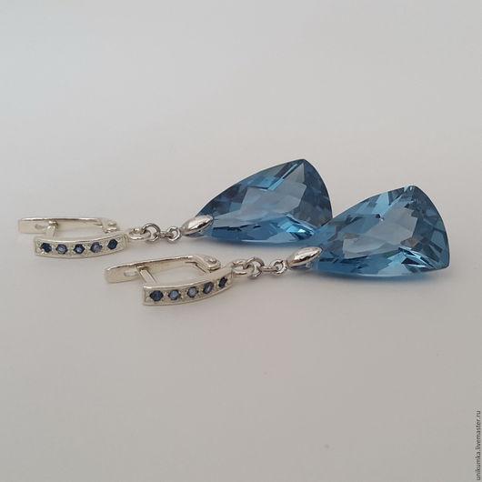 """Серьги ручной работы. Ярмарка Мастеров - ручная работа. Купить """"Blue"""" - серьги. Handmade. Голубой, серьги с камнями, английский замок"""