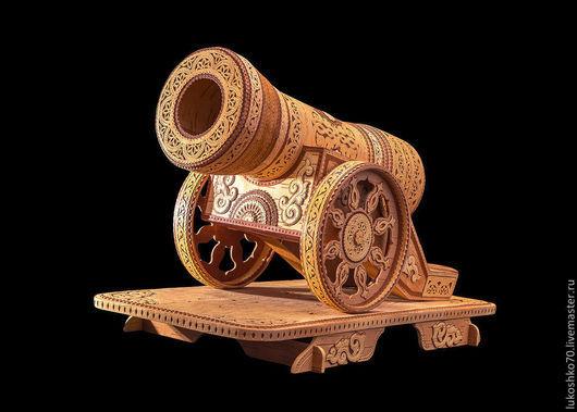 Персональные подарки ручной работы. Ярмарка Мастеров - ручная работа. Купить Пушка из бересты сувенирная. Пушка деревянная. Футляр для бутылки. Handmade.
