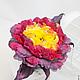 """Броши ручной работы. Пион """"Uccello di fuoco"""". Натуральный шелк.. 'Poli-Flower'   (Надежда). Ярмарка Мастеров. Пион из ткани"""