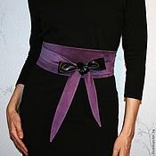 Ремни ручной работы. Ярмарка Мастеров - ручная работа Пояс кушак двусторонний Black & Violet. Handmade.