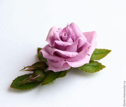 """Заколки ручной работы. Ярмарка Мастеров - ручная работа. Купить Зажим """"Сиреневая роза"""". Handmade. Сиреневый, роза из холодного фарфора"""