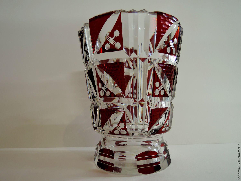 Crystal vase ruby red glass k palda art deco 1930s bohemia shop vintage interior decor livemaster handmade buy crystal vase ruby red glass k reviewsmspy