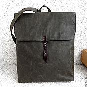 Сумки и аксессуары ручной работы. Ярмарка Мастеров - ручная работа VOX сумка рюкзак из натуральной кожи, темно оливкового цвета. Handmade.
