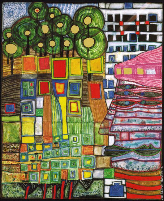 картина Хундертвассера, по мотивам которой нарисую шелковый шарф Биографию Фридриха узнайте в моем блоге http://www.livemaster.ru/topic/1717397-biografiya-fridriha-hundertvassera?vr=1&inside=1