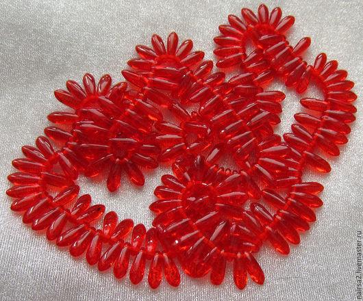Бусинки-язычки Glass Daggers (Цвет - прозрачные красные)