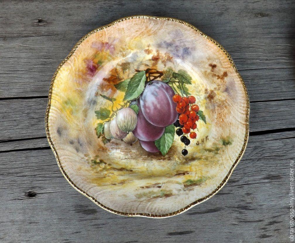 Винтаж: Редкая декоративная тарелка  с ручной росписью 2. P. Gosling Англия, Винтажные предметы интерьера, Липецк, Фото №1