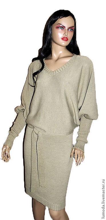 Платья ручной работы. Ярмарка Мастеров - ручная работа. Купить Платье вязаное. Handmade. Бежевый, вискоза для мишек тедди