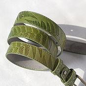 "Аксессуары handmade. Livemaster - original item Belt from the collection ""Fern"" Olive green, width 2,9 cm. Handmade."