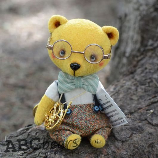 Мишки Тедди ручной работы. Ярмарка Мастеров - ручная работа. Купить Трумпи. Handmade. Желтый, миниатюра, ноты, стеклянные глазки