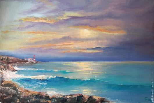 Пейзаж ручной работы. Ярмарка Мастеров - ручная работа. Купить Море. Маяк. Handmade. Тёмно-бирюзовый, маяк, синева, масло