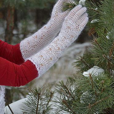 Accessories handmade. Livemaster - original item Feather long fishnet gloves. Handmade.