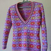 Одежда ручной работы. Ярмарка Мастеров - ручная работа Жаккардовый пуловер. Handmade.