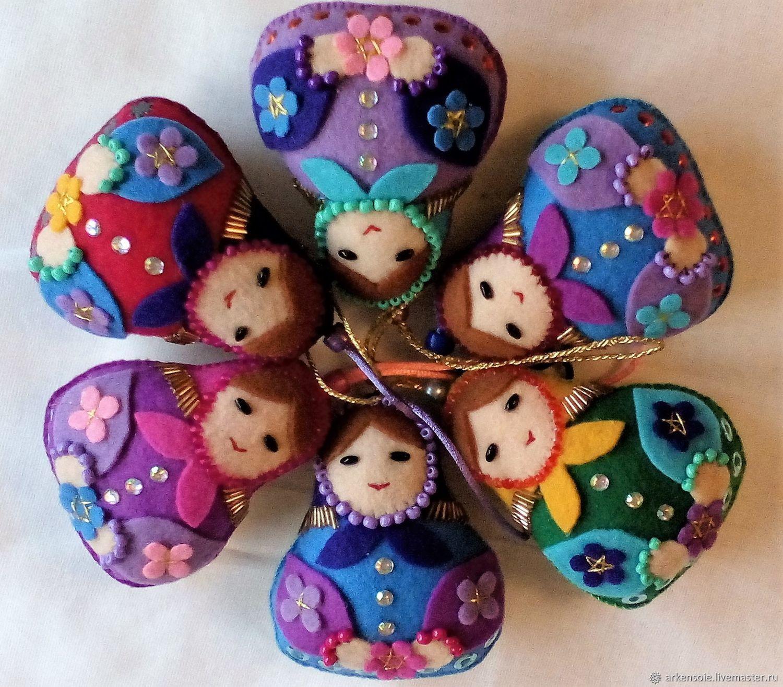 Matryoshka felt,10h8 cm,applique and hand embroidery, Dolls1, Novosibirsk,  Фото №1